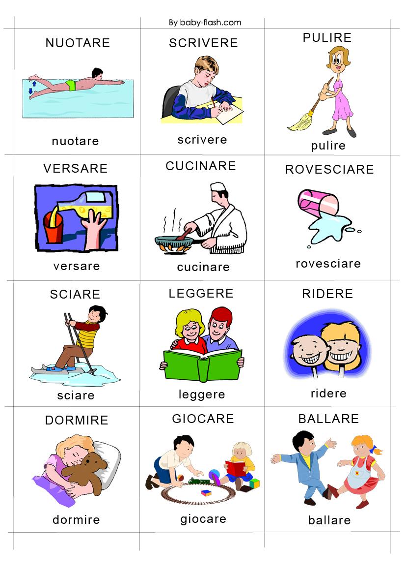 Schede didattiche di azioni for Baby flash italiano doppie