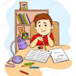29202747-Una-illustrazione-vettoriale-di-un-bambino-a-studiare-e-fare-i-compiti-nella-sua-camera-da-letto-Archivio-Fotografico
