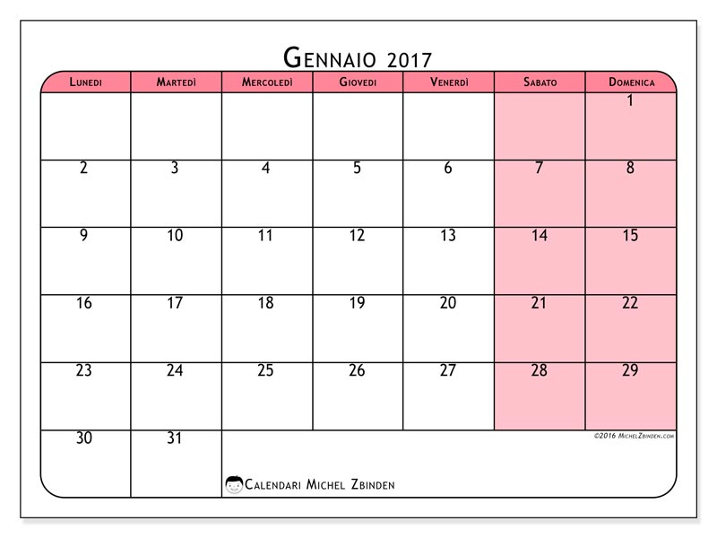 Famoso Calendari 2017 da stampare - Baby-flash CQ15